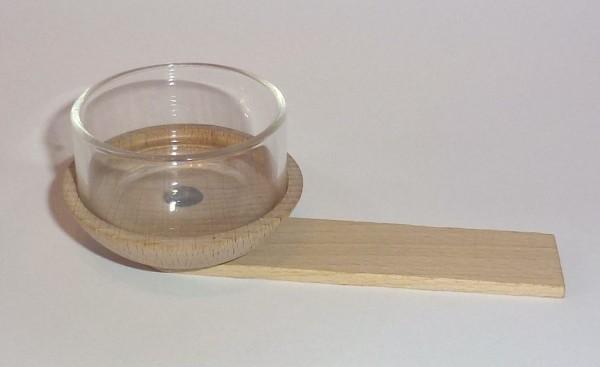 Teelichttülle mit Glaseinsatz und Tüllenhalter