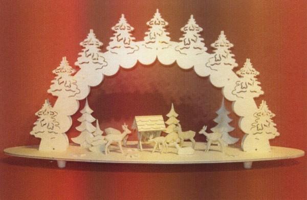 Vorlage Schwibbogen - Motiv Rehkrippe mit Bäumen