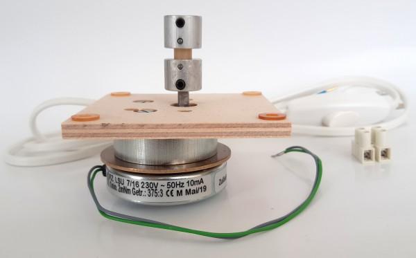 Motorset - Platte 80x80, Kupplung für 6mm Stahlwelle, Anschlussleitung, Motor