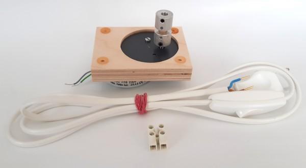Motorset - Adapterplatte, Kupplung für 6mm Stahlwelle, Anschlussleitung, flacher Motor