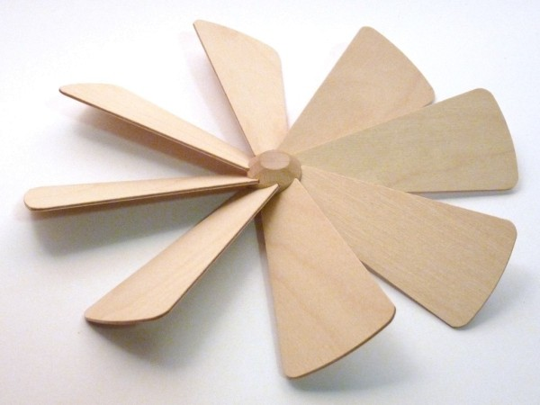 Flügelrad mit 8 Sperrholzflügel komplett montiert