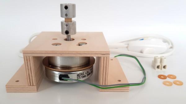 Motorset - Platte U-Form, Kupplung für 6mm Stahlwelle, Anschlussleitung, Motor