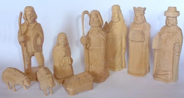 "Figuren ""Christi Geburt"" geschnitzt - 9teilig"