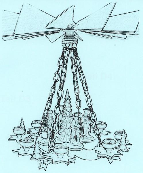 Laubsägevorlage Hängepyramide mit Ketten - Motiv Sterne