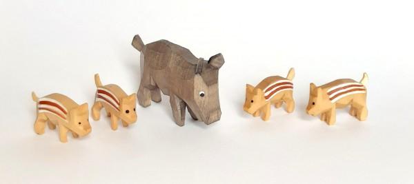 Wildschweingruppe - 5 teilig - farbig